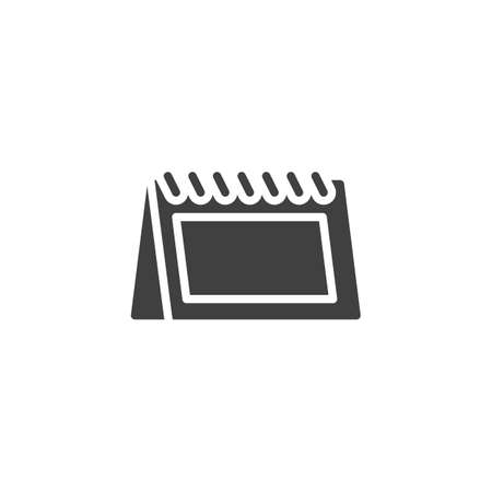 Desk calendar vector icon. filled flat sign for mobile concept and web design. Planning calendar glyph icon. Symbol, logo illustration. Vector graphics