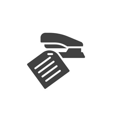 Note and stapler vector icon. filled flat sign for mobile concept and web design. Sheet of paper with a staple glyph icon. Symbol, logo illustration. Vector graphics