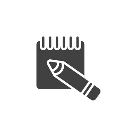 Memo reminder vector icon. filled flat sign for mobile concept and web design. Notebook and pencil glyph icon. Symbol, logo illustration. Vector graphics