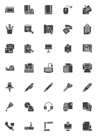 Office supplies vector icons set, modern solid symbol collection, filled style pictogram pack. Signs logo illustration. Set includes icons as calendar, notebook, note paper, laptop computer, desk lamp