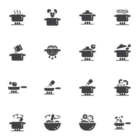 Cooking instruction vector icons set, food preparation modern solid symbol collection, filled style pictogram pack. Signs, logo illustration. Set includes icons as boiling pot on gas stove, frying pan Ilustracja
