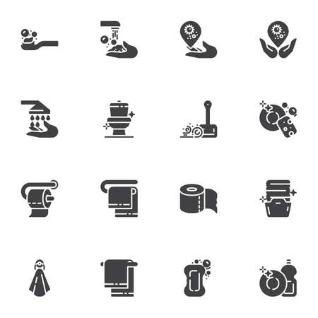 Hygiene and cleaning vector icons set, modern solid symbol collection, filled style pictogram pack. Signs, logo illustration. Set includes icons as clean toilet, wash hands, laundry, dish washing