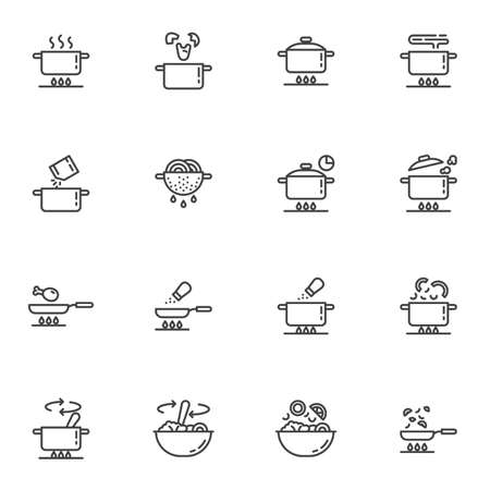 Cooking instruction line icons set, food preparation outline vector symbol collection, linear style pictogram pack. Signs, logo illustration. Set includes icons as boiling pot on gas stove, frying pan