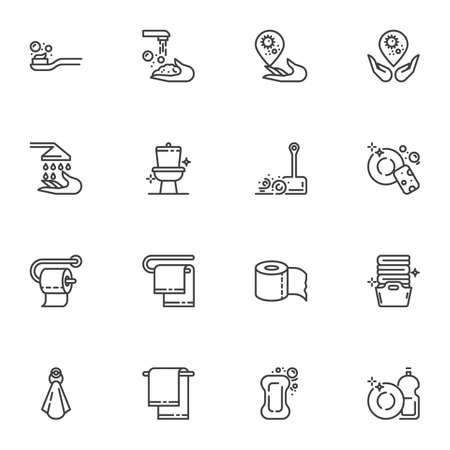 Hygiene and cleaning line icons set, outline vector symbol collection, linear style pictogram pack. Signs, logo illustration. Set includes icons as clean toilet, wash hands, laundry, dish washing Ilustracja