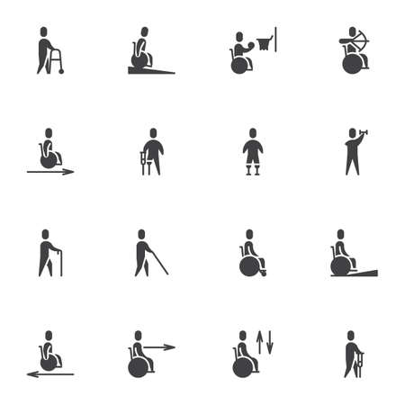 Disabled people vector icons set, modern solid symbol collection, filled style pictogram pack. Signs, logo illustration. Set includes icons as wheelchair, man with prosthetic leg, handicapped person Logo