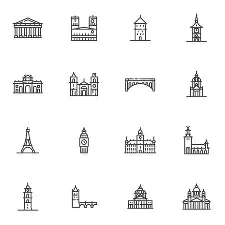 Tourism cities landmarks line icons set, outline vector symbol collection, linear style pictogram pack. Signs, logo illustration. Set includes icons as European cities landmark, big ben tower, bridge Ilustração
