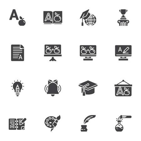 Education vector icons set, modern solid symbol collection, filled style pictogram pack. Signs, logo illustration. Set includes icons as dictionary book, graduation hat, school whiteboard, award cup