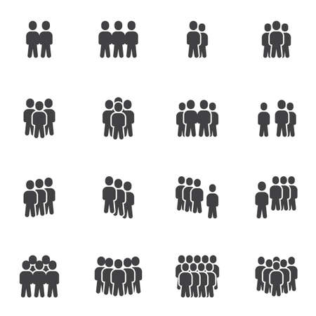 Crowd of people vector icons set, modern solid symbol collection, filled style pictogram pack. Signs, logo illustration. Set includes icons as business teamwork people group community, office employee