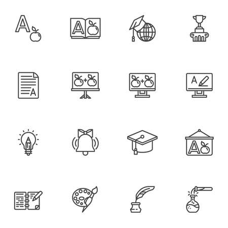 Education line icons set, outline vector symbol collection, linear style pictogram pack. Signs, logo illustration. Set includes icons as dictionary book, graduation hat, school whiteboard, award cup