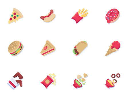 Fast food menu collection, junk food flat icons set, Colorful symbols pack contains - pizza slice, piece of cake, hamburger, french fries, fried chicken wings. Vector illustration. Flat style design