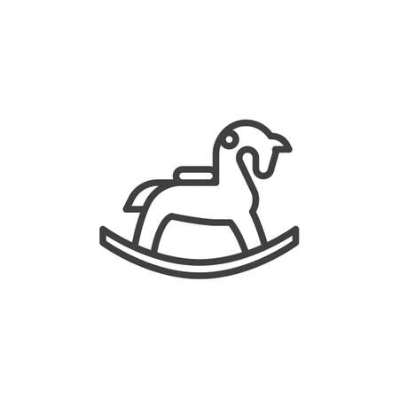 Rocking horse line icon. linear style sign for mobile concept and web design. Toy horse outline vector icon. Symbol, logo illustration. Vector graphics
