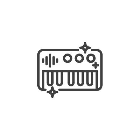Electrical toy piano line icon. linear style sign for mobile concept and web design. Piano toy keyboard outline vector icon. Symbol, logo illustration. Vector graphics