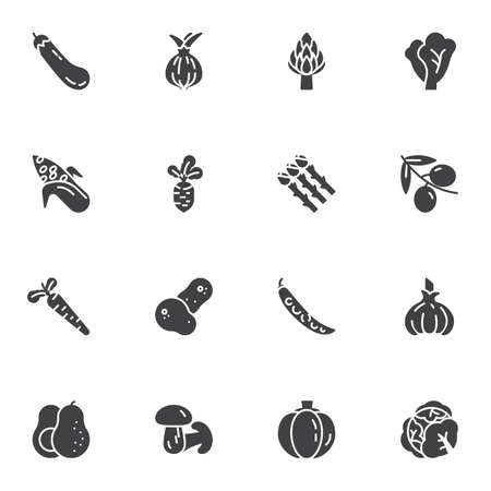 Healthy Vegetable vector icons set, modern solid symbol collection, filled style pictogram pack. Signs, logo illustration. Set includes icons as onion, asparagus, olive, lettuce, mushroom, carrot Logo