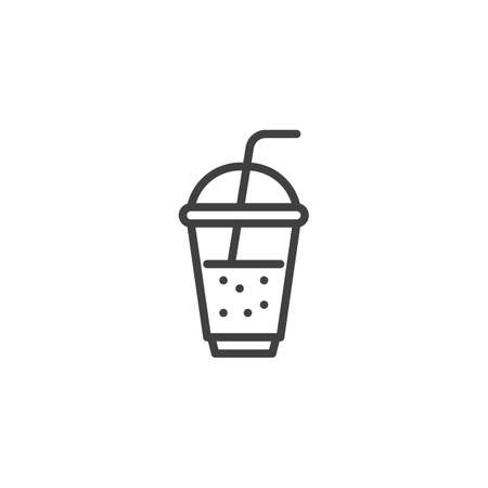 Milkshake cup line icon. linear style sign for mobile concept and web design. Takeout coffee cup outline vector icon. Symbol, logo illustration. Vector graphics