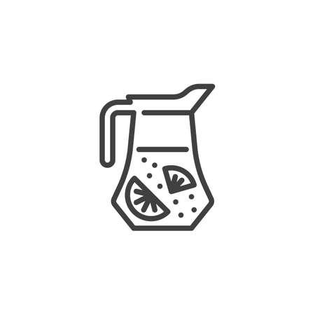 Fresh juice jug line icon. Lemonade pitcher linear style sign for mobile concept and web design. Fresh citrus tea outline vector icon. Symbol, logo illustration. Vector graphics