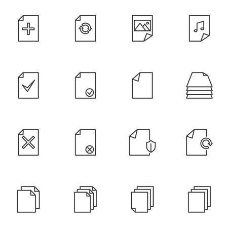 Document files line icons set, outline vector symbol collection, linear style pictogram pack. Signs, logo illustration. Set includes icons as add file, media gallery, music folder, protection shield Ilustração