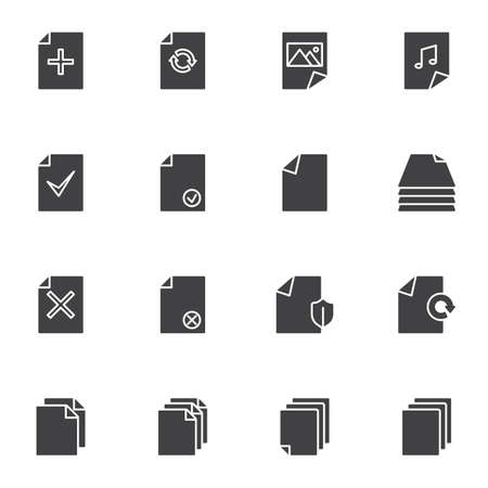 Document files vector icons set, modern solid symbol collection, filled style pictogram pack. Signs, logo illustration. Set includes icons as add file, media gallery, music folder, protection shield