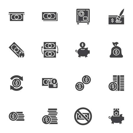 Money vector icons set, modern solid symbol collection, filled style pictogram pack. Signs logo illustration. Set includes icons as paper money bill, piggy bank with dollar coin, exchange, bank cheque