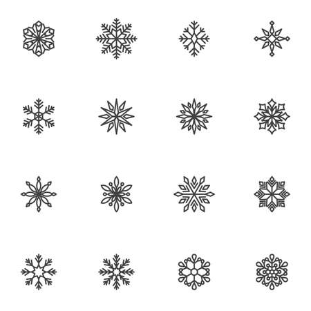 Snowflakes line icons set, outline vector symbol collection, linear style pictogram pack. Signs, logo illustration. Set includes icons as xmas snowflake ornament, winter snow flake shape