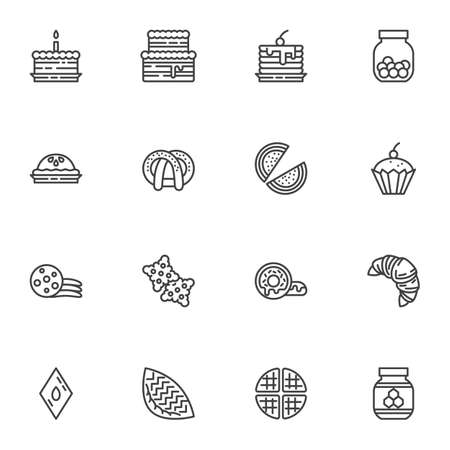 Cakes line icons set, sweets and dessert outline vector symbol collection, linear style pictogram pack. Signs logo illustration. Set includes icons as birthday cake, biscuit cookie, cupcake, croissant