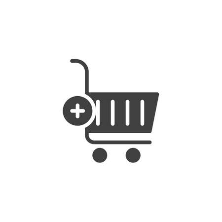 Add to shopping cart vector icon. filled flat sign for mobile concept and web design. Add to purchase basket glyph icon. Symbol, logo illustration. Vector graphics