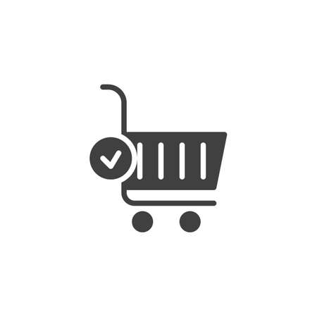 Shopping cart and check mark vector icon. Completed order filled flat sign for mobile concept and web design. Add to basket glyph icon. Symbol, logo illustration. Vector graphics 矢量图像