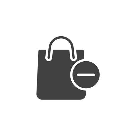 Delete from shopping bag vector icon. filled flat sign for mobile concept and web design. Shopping bag and minus glyph icon. Symbol, logo illustration. Vector graphics