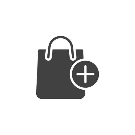 Add to shopping bag vector icon. filled flat sign for mobile concept and web design. Shopping bag and plus glyph icon. Symbol, logo illustration. Vector graphics 矢量图像