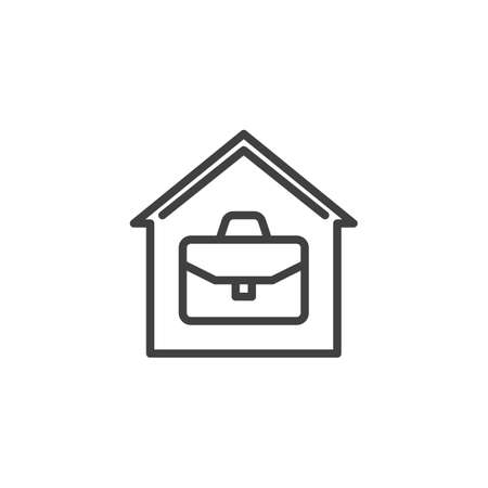 Home office line icon. House with briefcase linear style sign for mobile concept and web design. Work at home outline vector icon. Symbol, logo illustration. Vector graphics Illustration