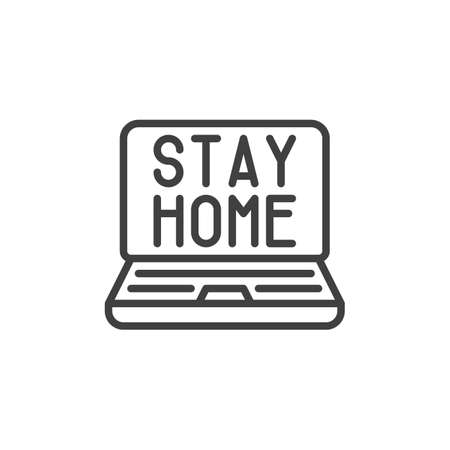 Laptop with stay home text line icon. linear style sign for mobile concept and web design. Work from home outline vector icon. Symbol, logo illustration. Vector graphics