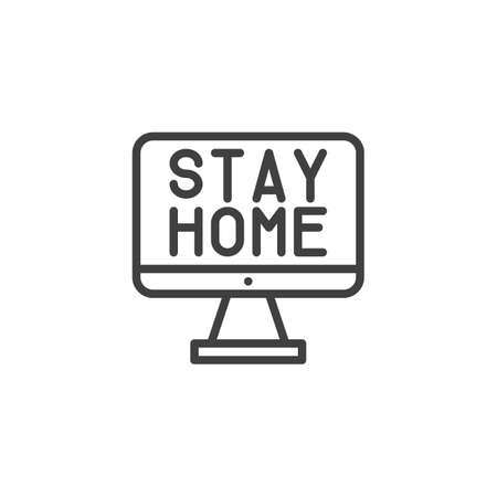 Computer monitor with stay home text line icon. linear style sign for mobile concept and web design. Work from home outline vector icon. Symbol, logo illustration. Vector graphics