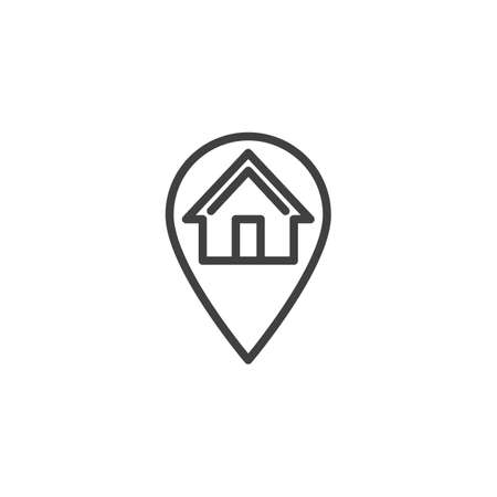 Home location pin line icon. linear style sign for mobile concept and web design. Map marker with house outline vector icon. Symbol, logo illustration. Vector graphics Illustration