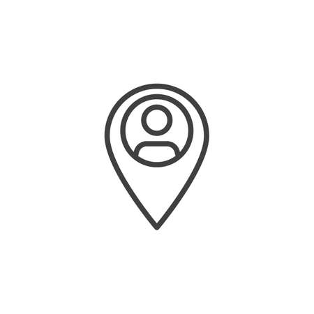 User location pin line icon. linear style sign for mobile concept and web design. Person pointer, map pin outline vector icon. Symbol, logo illustration. Vector graphics