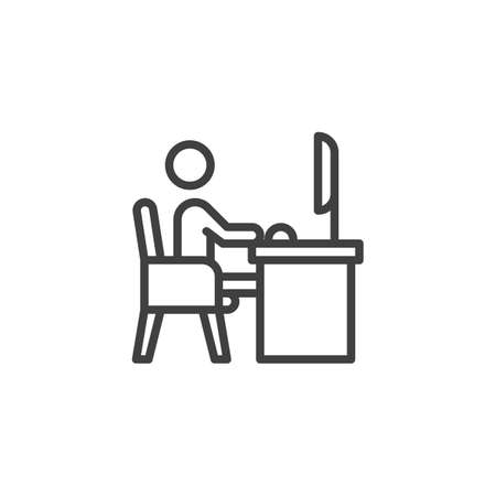 Man working on computer line icon. linear style sign for mobile concept and web design. Freelancer sitting at workplace outline vector icon. Symbol, logo illustration. Vector graphics Illustration