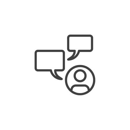Man with speech bubble line icon. User chat message linear style sign for mobile concept and web design. Chat conversation outline vector icon. Symbol, logo illustration. Vector graphics
