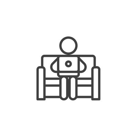 Working from home line icon. linear style sign for mobile concept and web design. Man sitting with laptop on the sofa outline vector icon. Symbol, logo illustration. Vector graphics Illustration