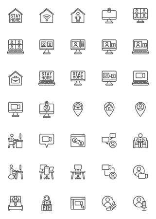 Working at home line icons set. linear style symbols collection, outline signs pack. vector graphics. Set includes icons as coworking space, home office, freelance people, online video conference
