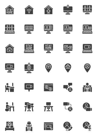 Working at home vector icons set, modern solid symbol collection, filled style pictogram pack. Signs, logo illustration. Set includes icons as home office, freelance people, online video conference