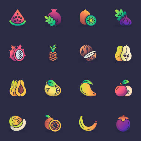 Healthy fruit, filled outline icons set, line vector symbol collection, linear colorful pictogram pack. Signs, logo illustration, Set includes icons as watermelon, pomegranate, banana, dragon fruit