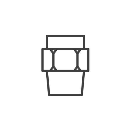 Plumbing pipe connector line icon. linear style sign for mobile concept and web design. Plumbing coupling outline vector icon. Symbol, logo illustration. Vector graphics