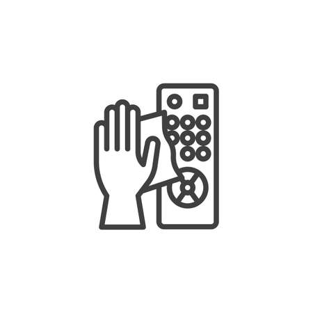 TV remote disinfection line icon. linear style sign for mobile concept and web design. Clean remote control outline vector icon. Symbol, logo illustration. Vector graphics 矢量图像