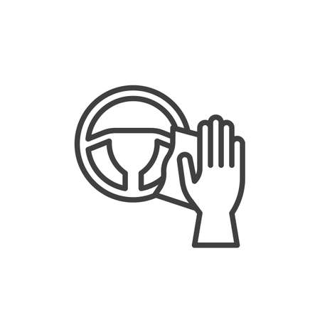 Steering wheel cleaning line icon. linear style sign for mobile concept and web design. Disinfecting steering wheel outline vector icon. Symbol, logo illustration. Vector graphics