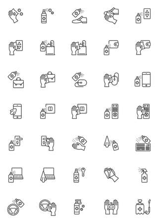 Disinfection, sanitize line icons set. Coronavirus prevention linear style symbols collection, outline signs pack. vector graphics. Set includes icons as sanitizer spray bottle, medical antibacterial 矢量图像