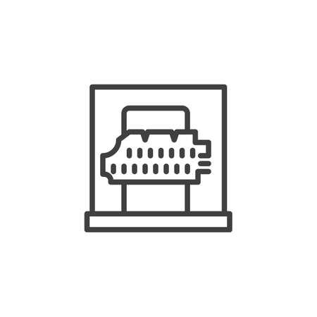 Ancient parchment line icon. linear style sign for mobile concept and web design. Museum exhibit, ancient manuscript paper outline vector icon. Symbol, logo illustration. Vector graphics