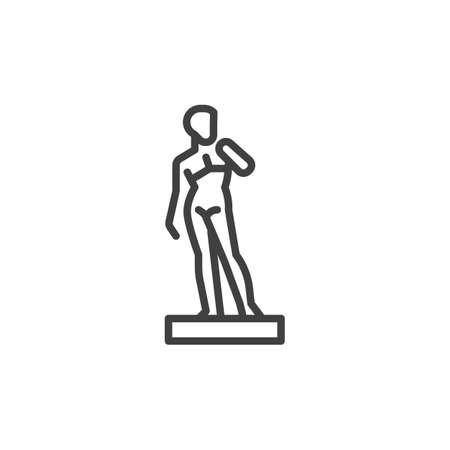 Apollo statue line icon. linear style sign for mobile concept and web design. Ancient roman statue outline vector icon. Symbol, logo illustration. Vector graphics Logo