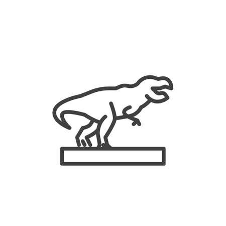 Museum dinosaur line icon. linear style sign for mobile concept and web design. Tyrannosaurus rex outline vector icon. Symbol, logo illustration. Vector graphics Ilustração