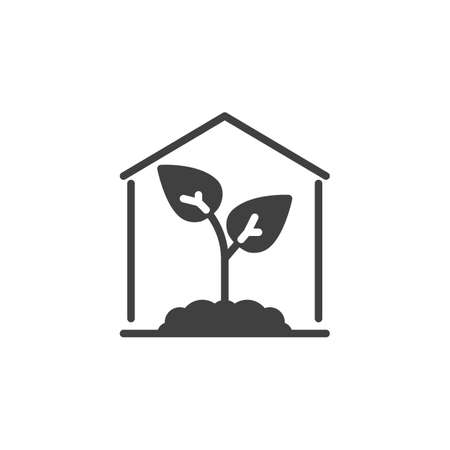 Greenhouse with plant vector icon. filled flat sign for mobile concept and web design. Growing plant in greenhouse glyph icon. Symbol, logo illustration. Vector graphics