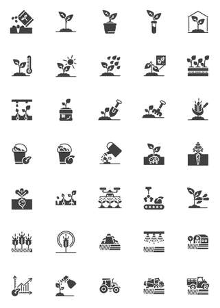 Farming agriculture vector icons set, modern solid symbol collection, filled style pictogram pack. Set includes icons as combine harvester tractor, field irrigation