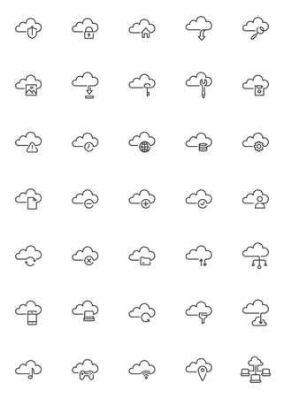 Cloud computing line icons set. linear style symbols collection, outline signs pack. vector graphics. Set includes icons as computer cloud technology, database network connection, data storage