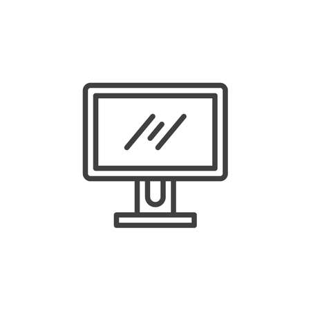 Computer screen line icon. linear style sign for mobile concept and web design. Computer monitor outline vector icon. Symbol, illustration. Vector graphics Ilustração